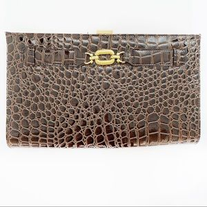 Brown Faux Croc Gold Detail Print Envelope Clutch